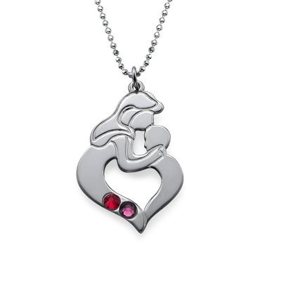 Collana madre e figlio incise in argento - 2