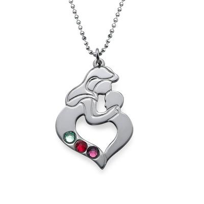 Collana madre e figlio incise in argento - 3