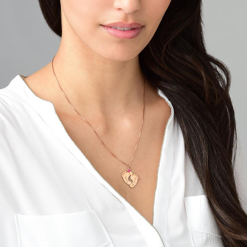 Collana Personalizzata con Piedi di Bambino - placcata Oro Rosa - 2