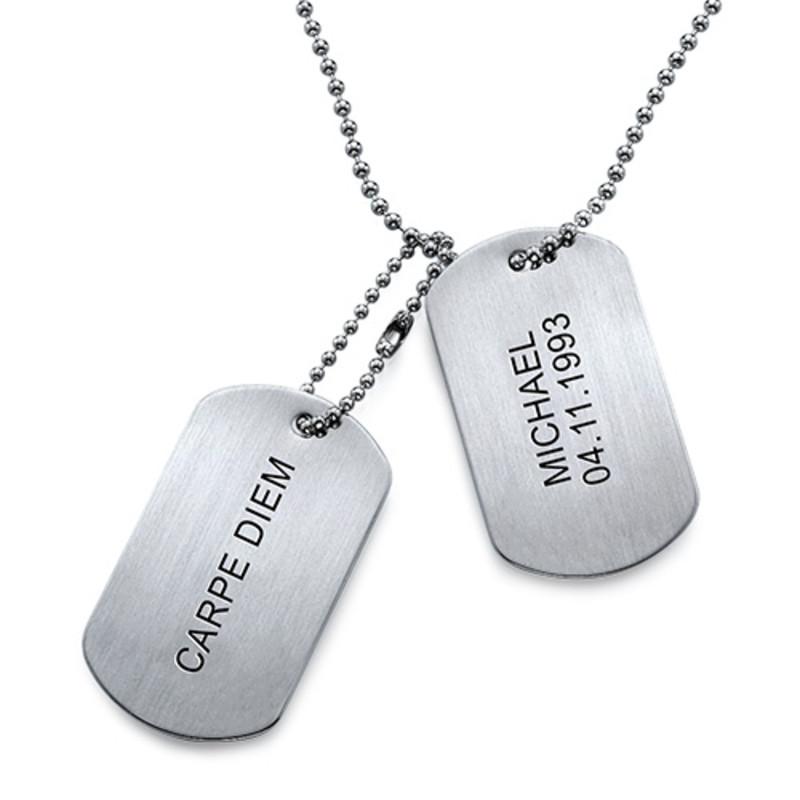 Collana con Placca Militare Incisa in Acciaio Inossidabile - 1
