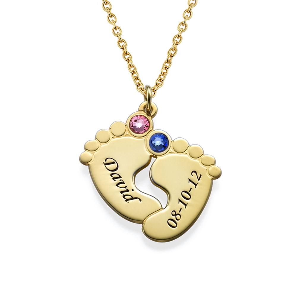 Collana Piedi di Bambino Personalizzata Placcata in Oro - 1