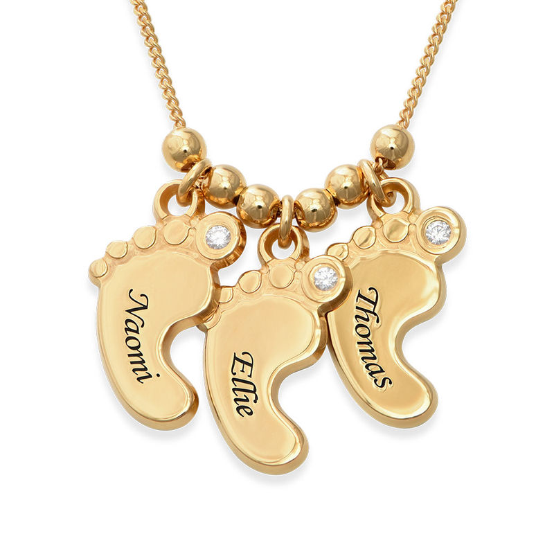Gioielli per Mamme - Collana con Piedi di Bambino in Vermeil d'Oro foto del prodotto