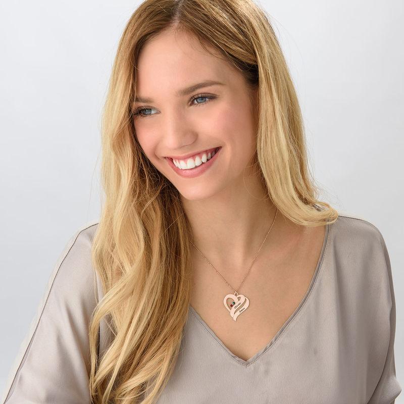 Collana Due Cuori Per Sempre Uno con Pietre Portafortuna – Placcata in Oro Rosa - 3