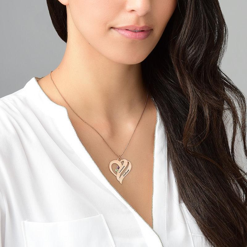 Collana Due Cuori Per Sempre Uno con Pietre Portafortuna – Placcata in Oro Rosa - 5