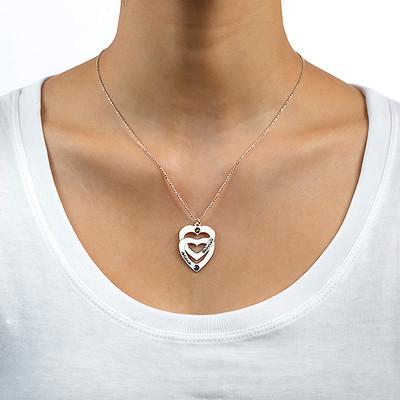 Collana Verticale Incisa con Cuore nel Cuore Verticale e Pietre Portafortuna - 1