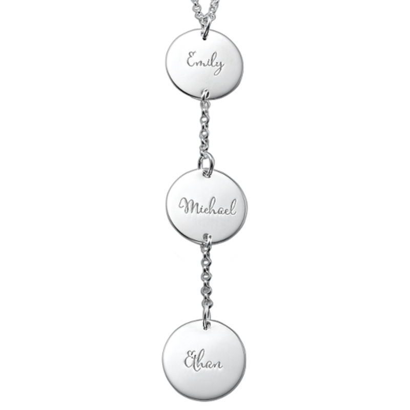 Collana Personalizzata a Forma di Y con Dischi in Argento