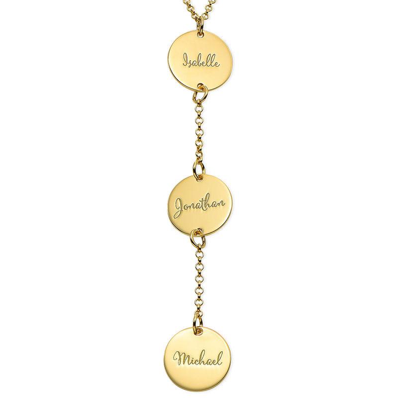 Collana Personalizzata a Forma di Y con Dischi in Oro Placcato 18K