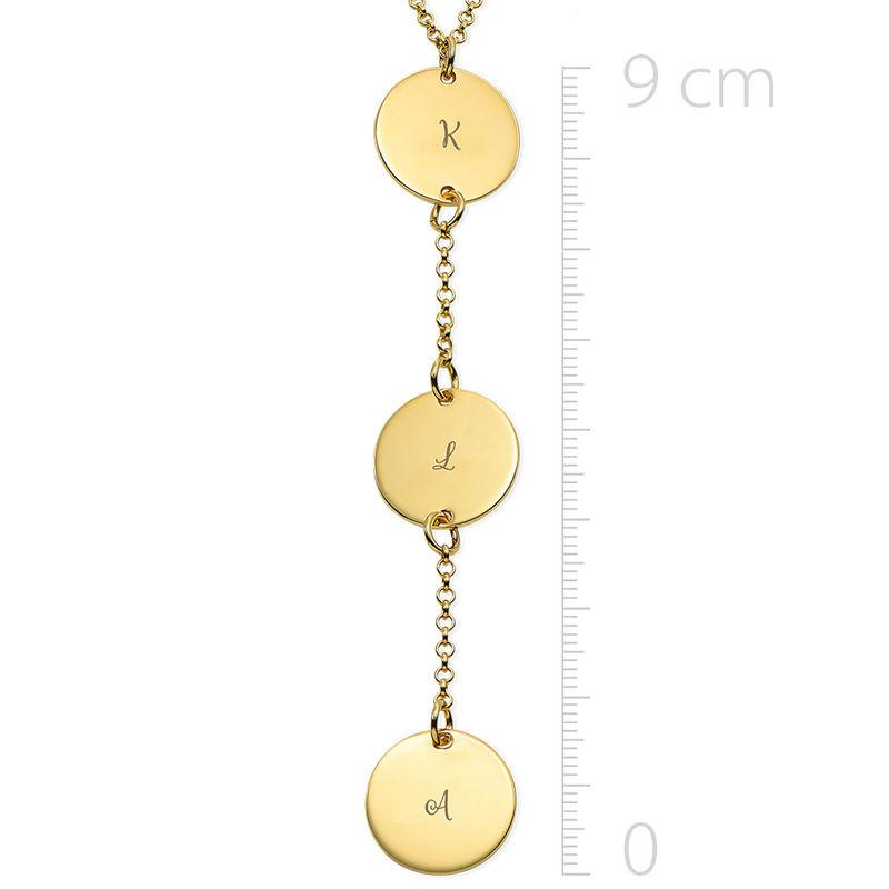 Collana Personalizzata a Forma di Y con Dischi in Oro Placcato 18K - 1