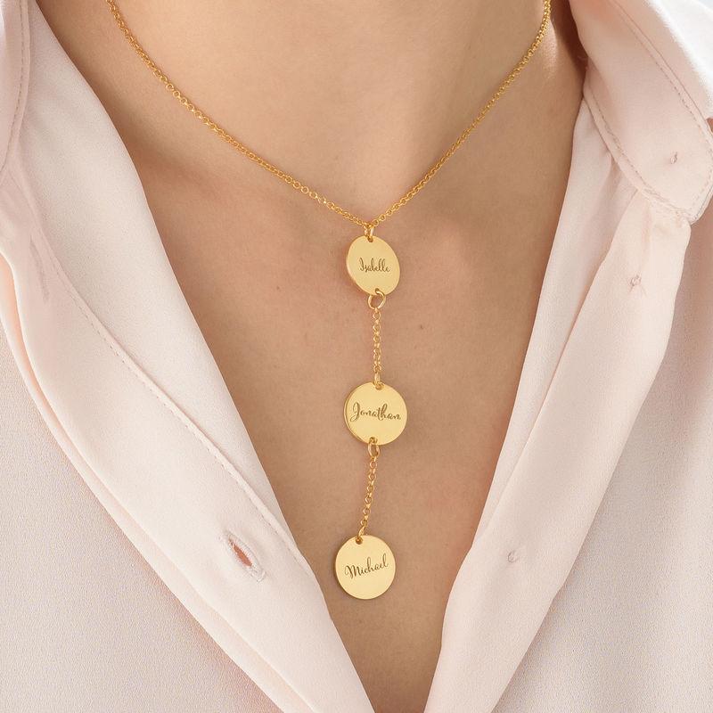 Collana Personalizzata a Forma di Y con Dischi in Oro Placcato 18K - 3