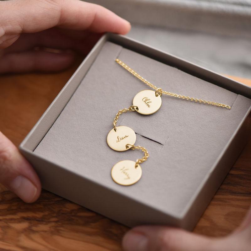 Collana Personalizzata a Forma di Y con Dischi in Oro Placcato 18K - 4