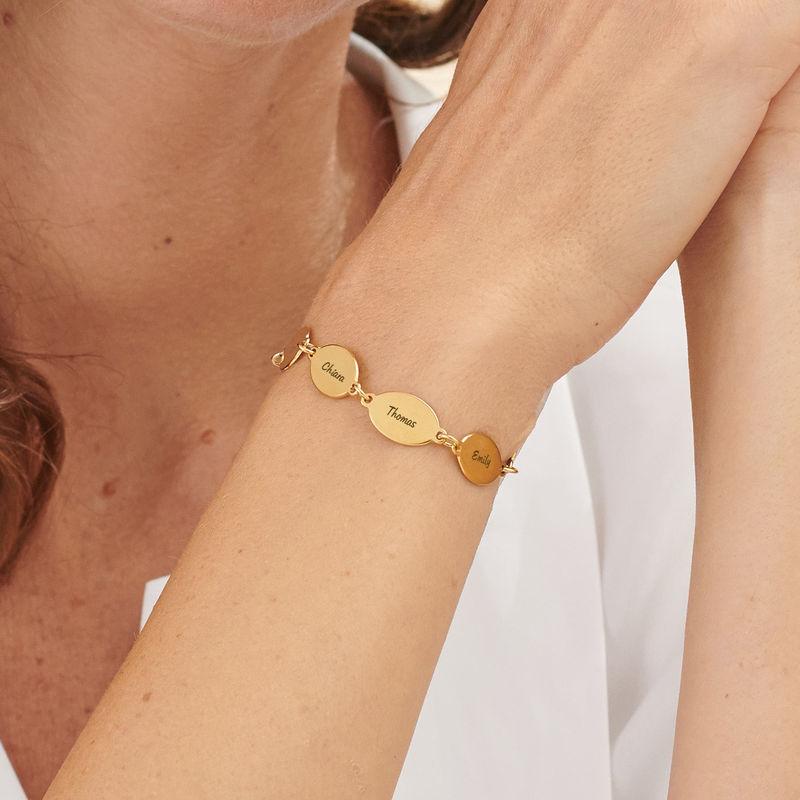 Braccialetto della mamma con nome dei bimbi, dal disegno ovale in vermeil d'oro - 4
