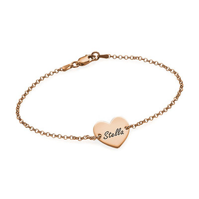 Bracciale inciso Con Cuore Placcato In Oro Rosa 18K product photo