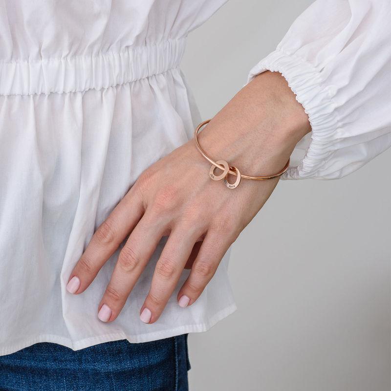 Bracciale Rigido con Ciondoli Rotondi Placcato Oro Rosa - 2