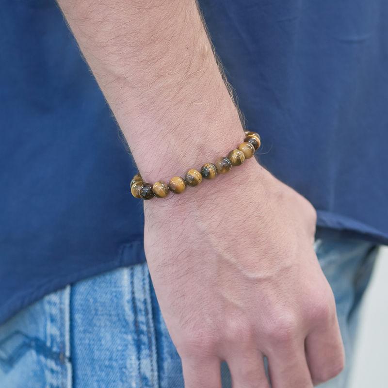 Bracciale Uomo con Perline in pietra Occhio di Tigre - 1