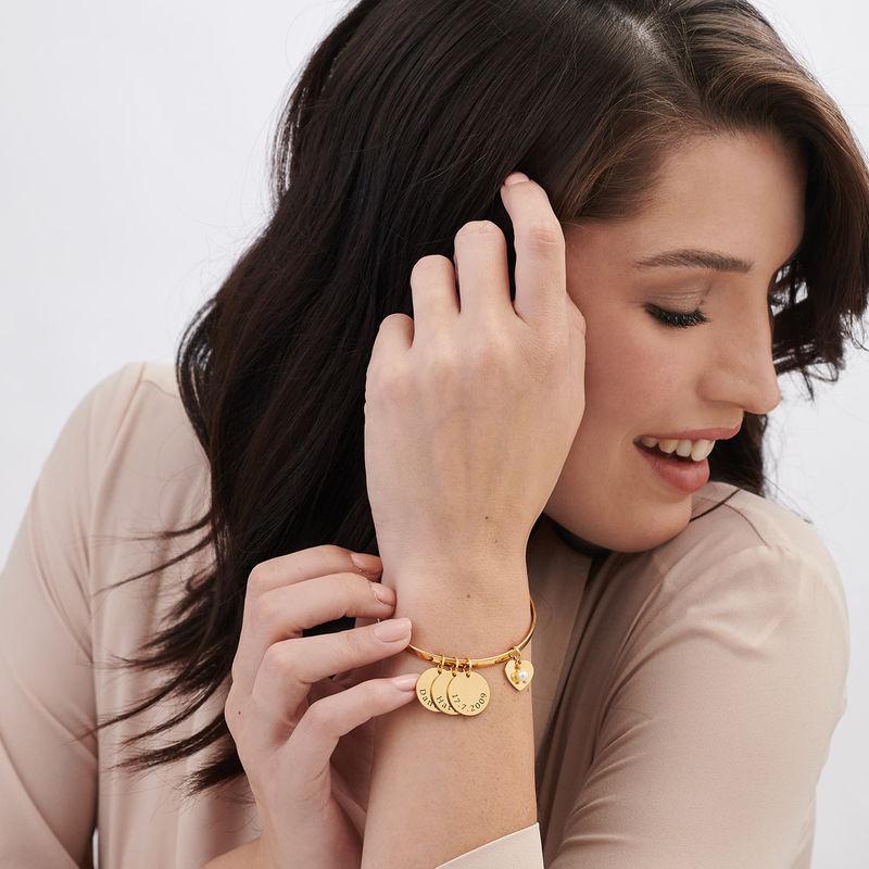 Bracciale Rigido con Ciondolo Personalizzato Placcato Oro - 1