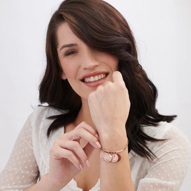 Bracciale Rigido con Ciondolo Personalizzato Placcato Oro Rosa - 1