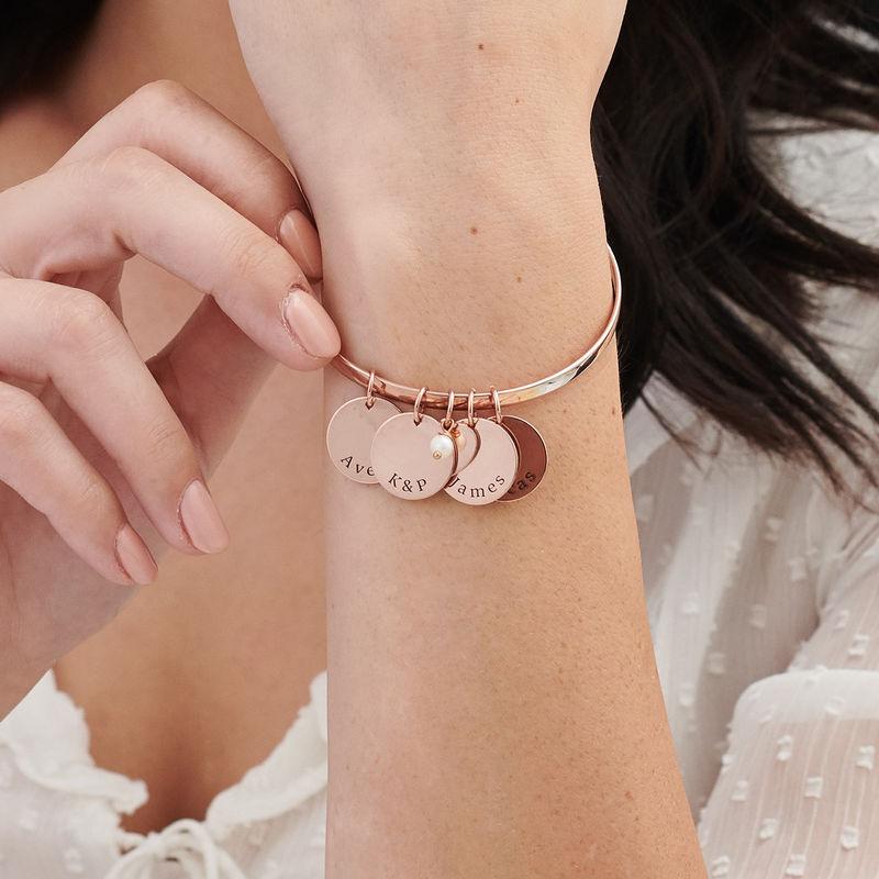 Bracciale Rigido con Ciondolo Personalizzato Placcato Oro Rosa - 2
