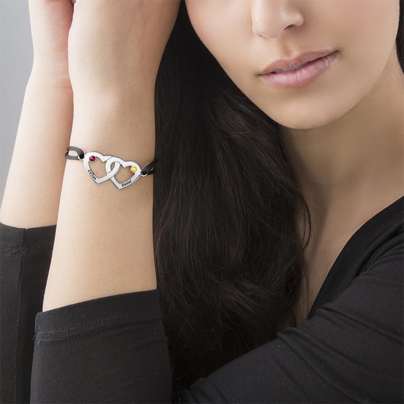 Braccialetto coppia di cuori in argento e pietra in cristallo portafortuna - 3
