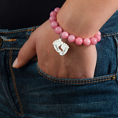 Braccialetto in perle con Piedi di Bambino - 2