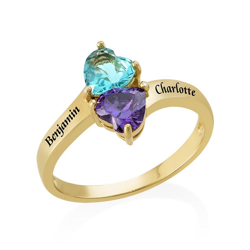 Anello personalizzato con pietre portafortuna Placcato in Oro foto del prodotto