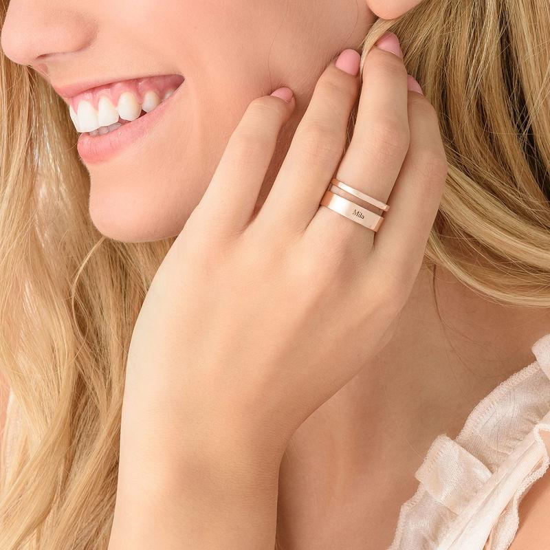 Anello Asimmetrico con Nome Placcato in Oro Rosa - 3