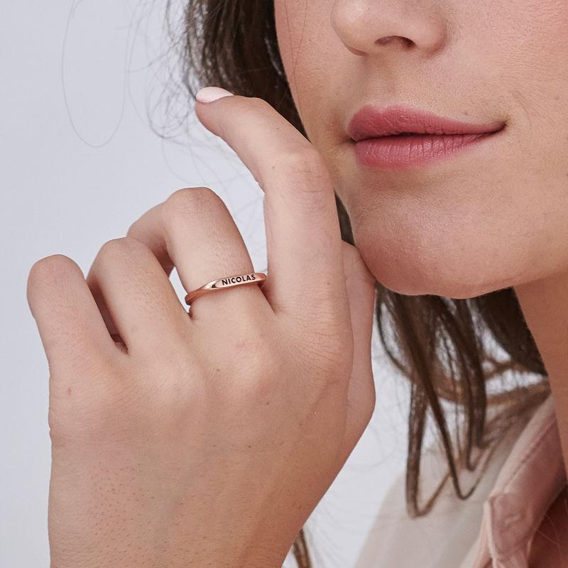 Anello con Nome Componibile Rettangolare Placcato Oro Rosa - 4