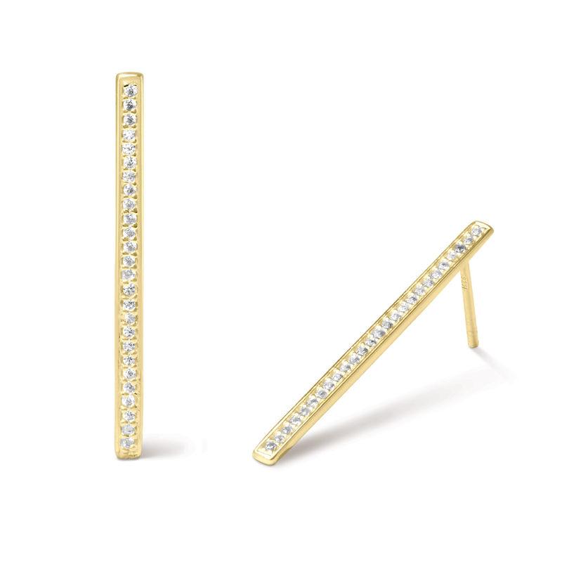 Orecchini a Bottone con Barra Verticale e Zirconi Cubici Placcati Oro - 1