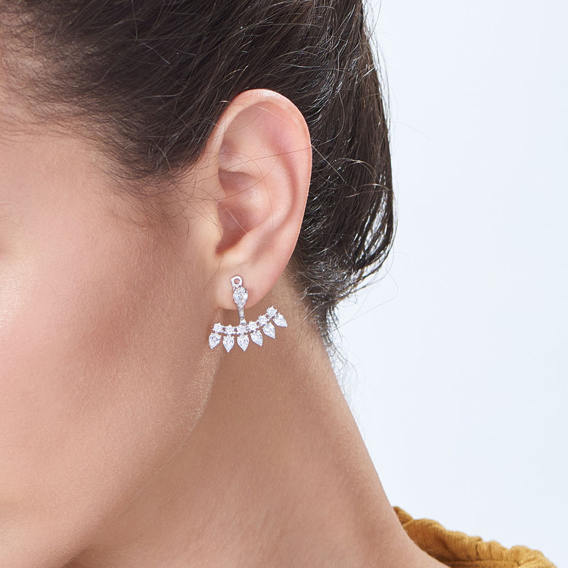 Orecchini Ear Jacket con Zirconi Cubici in Argento - 1