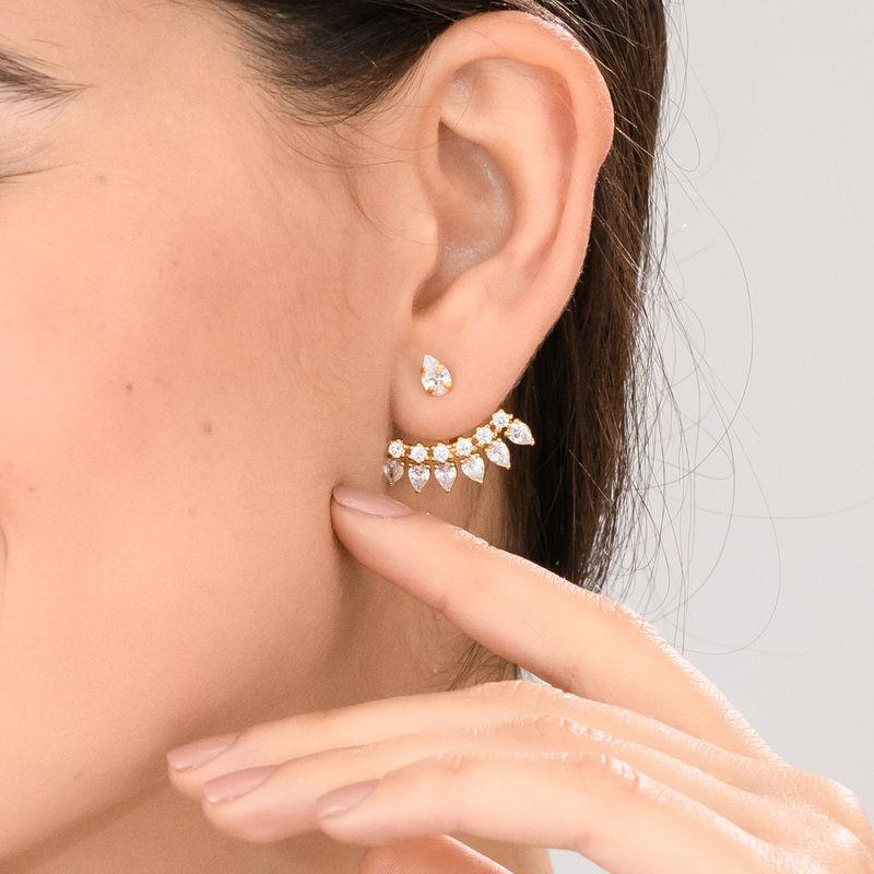 Orecchini Ear Jacket con Zirconi Cubici Placcati Oro - 1