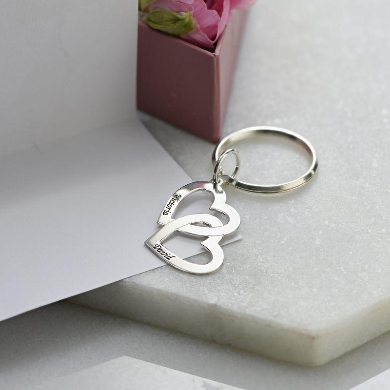 Portachiavi in argento con Cuori intersecati - 3