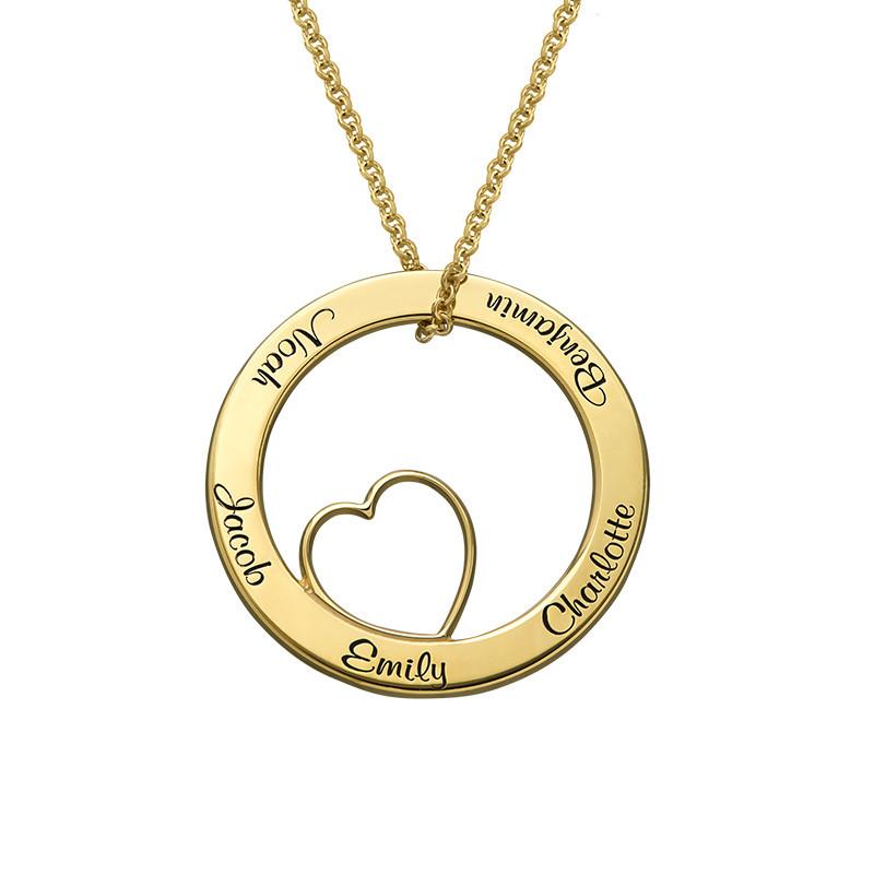 Collana con Pendente a Cerchio Amore per la Famiglia con Placcatura Oro foto del prodotto