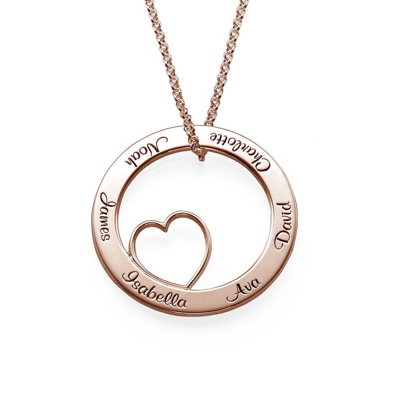 Collana con Pendente a Cerchio Amore per la Famiglia con Placcatura Oro Rosa product photo