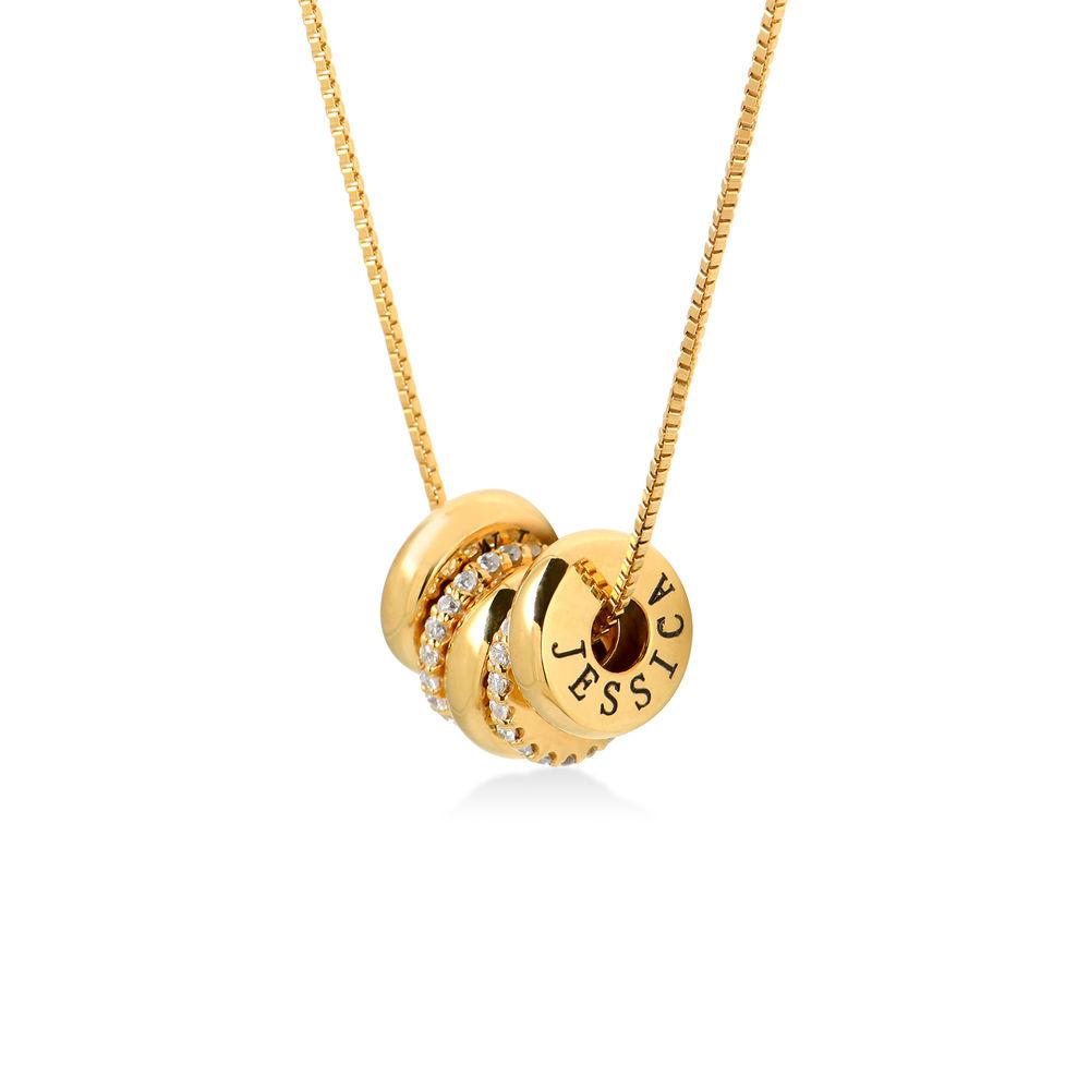 Collana con perline incise personalizzate in Argento 925 placcato oro 18k product photo