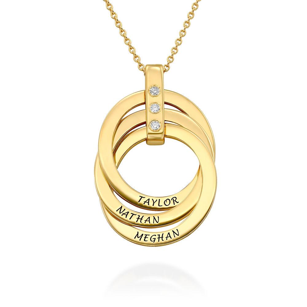 Collana con Anello alla Russa con Diamante in Argento 925 placcato oro 18k foto del prodotto