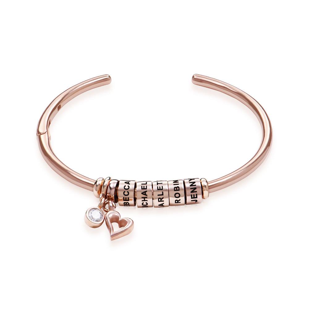 Bracciale Rigido Linda ™ con Perle Personalizzate y Diamante in Placcato Oro Rosa 18K foto del prodotto