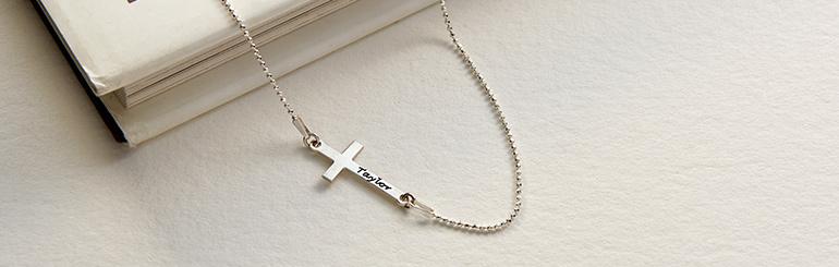 Collana con Croce Laterale Incisa