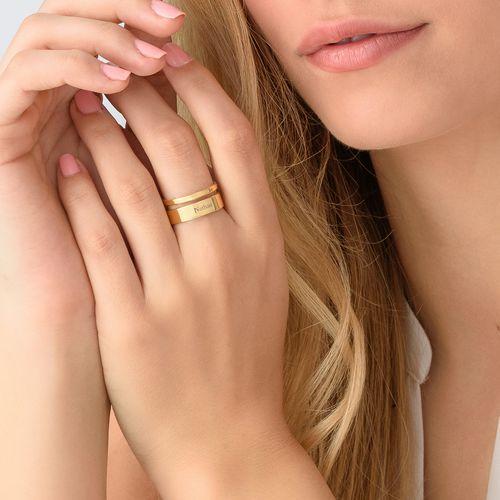 Anello Asimmetrico con Nome Placcato in Oro - 3
