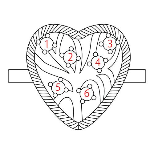 Anello a forma di cuore con pietre - 4