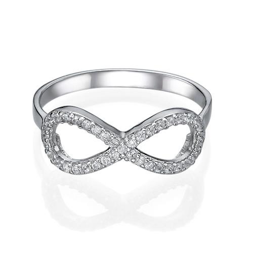 Anello infinito con Zircone Cubico in Argento - 1