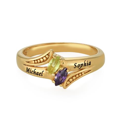 Anello personalizzato con pietre portafortuna Placcato in Oro