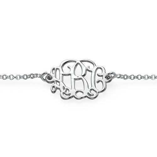 Bracciale monogramma in puro argento - 1