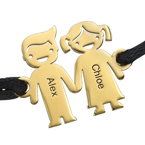 Braccialetto Placcato in Oro con Bambini che si Tengono per Mano - 1