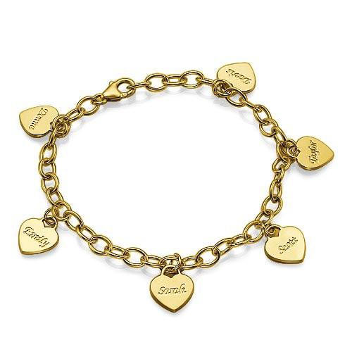 Braccialetto con Charm Cuore Personalizzato Placcato Oro