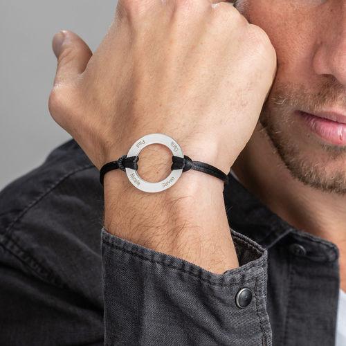 Braccialetto con cerchio infinito inciso in argento - 3
