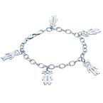"""Braccialetto con pendenti """"bimbi"""" personalizzato in argento 0,925"""