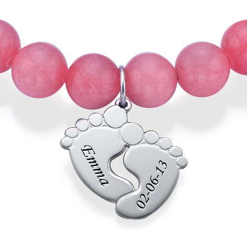 Braccialetto in perle con Piedi di Bambino - 1