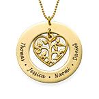 Collana Albero Famiglia con Cuore Placcata in Oro 18K
