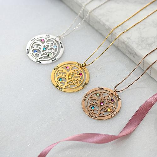Collana Albero Genealogico con Pietre Portafortuna – Oro Placcato 18K - 3