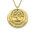 Collana Albero di Famiglia a strati Placcata in Oro