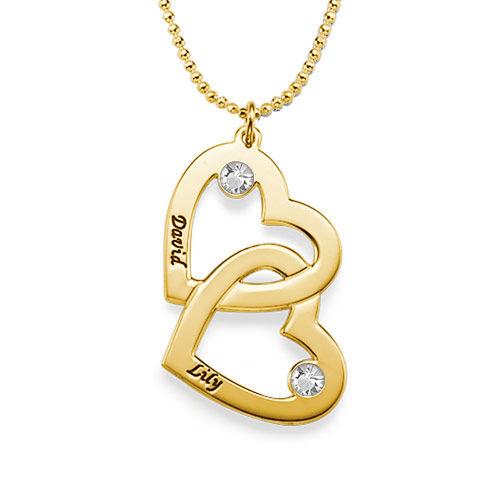Collana Cuore nel Cuore Placcata in Oro con Pietre Preziose - 1